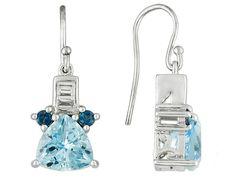 6.75ctw Trillion Glacier Topaz(Tm), .31ctw White Topaz, .42ctw London Blue Topaz Silver Earrings