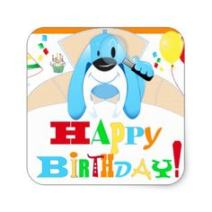 Dog Detective Happy Birthday Scavenger Hunt Party Square Sticker - birthday gifts party celebration custom gift ideas diy