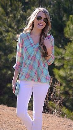 Twist and Plaid Top :: NEW ARRIVALS :: The Blue Door Boutique