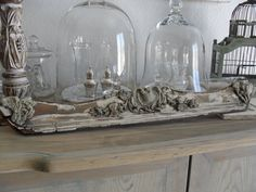 glass vases and part of old frame!