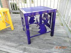 Outdoor patio side table with High School Elk logo
