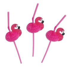 """Our Pink Flamingo Straws will add a fun, festive touch to your party! Quantity: 12 Flamingo Straws per pack Dimensions: 10"""" bendable Straw. 2.1/4"""" Tissue Fla"""