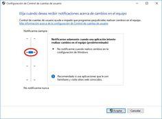 Activar o desactivar el UAC en Windows 10