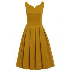 'Marianne' Mustard Swing Dress and Jacket Twin Set