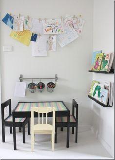 Kids workspace, kitchen corner, kitchen for kids, corner Kids Art Corner, Craft Corner, Coin D'art, Crayon Storage, Pen Storage, Hanging Storage, Table Storage, Hanging Art, Displaying Kids Artwork