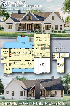 Modern Farmhouse Plans, Farmhouse Design, Covered Front Porches, Built In Grill, Roof Plan, Wet Rooms, Reno, Hall Bathroom, Stairways