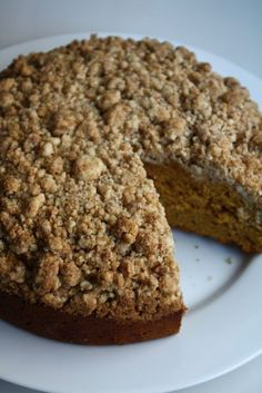 pumpkin crumb cake.  made on 8/19/12 in springform pan... had to keep adding baking time, would not get done raw in middle after 70 min. frustrating! bake in 8x11 pan next time. crumble topping was excellent! (tlc)