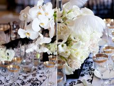 Black, white, and gold weddings with floral by Karen Tran