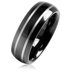 Black Tungsten Mirror Finish Wedding Band Ring 8mm (€15) ❤ liked on Polyvore featuring men's fashion, men's jewelry, men's rings, black, rings wedding bands, mens watches jewelry, mens band rings, mens black tungsten rings, mens rings and mens diamond band wedding ring