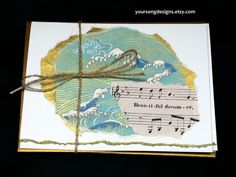 Ocean Waves Inspirational Notecard Set (5) with Vintage Sheet Music by YourSongDesigns on Etsy