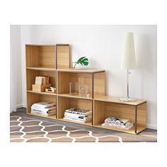 IKEA - IKEA PS 2014, Aufbewahrung mit Abdeckungen, Bambus/dunkelrot,