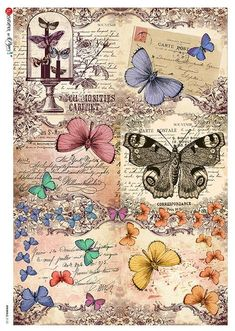 BUY this Beautiful butterflies and vintage scripts on this rice decoupage paper … Papel Vintage, Decoupage Vintage, Vintage Cards, Vintage Images, Vintage Paper Crafts, Decoupage Printables, Printable Scrapbook Paper, Vintage Butterfly, Butterfly Art