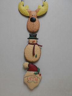Fun Christmas Door Hanger Santa Claus Reindeer Snowman Metal Holiday Decoration #Unbranded
