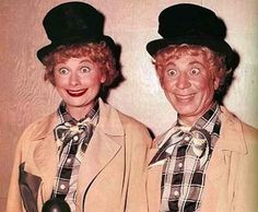 """Lucille Ball and Harpo Marx from """"Lucy and Harpo Marx"""" episode (1955)."""