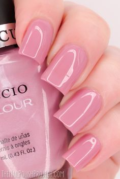 Cuccio Colour Polishes 'Bali Bliss' ~ a beautiful, slightly muted, pale pink that looks extremely delicate on the nail.  This polish also has a slight white pearlescent finish to it which contributes to the dusty effect.  ~ swatch by The Nail Polish Project