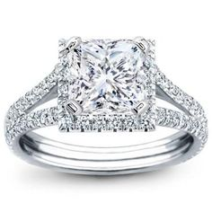 French Cut Engagement Setting for Square Diamond - R2899