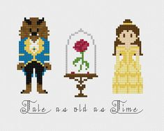 Disney Beauty & the Beast Rose Cross Stitch Pattern PDF Instant Download