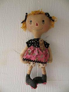FTFD 16 - Prim Roller Skating Girl  - Spring / Birthday Decor  - Primitive Rag Doll e-pattern