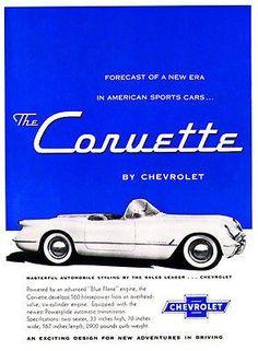 3750 best vintage car adsplants and dealerships images on pinterest 1954 chevrolet corvette promotional advertising poster fandeluxe Gallery