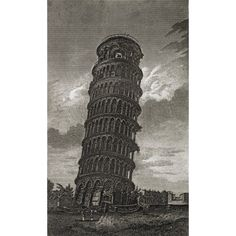 The Hanging Tower Of Pisa In Tuscany Engraved By W Deeble From The Book The Gallery Of Nature And Art Volume Ii Published London C1823 Canvas Art - Ken Welsh Design Pics (22 x 38)