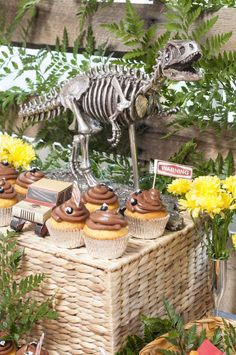 Jurassic Park birthday party cupcakes! See more party planning ideas at CatchMyParty.com!