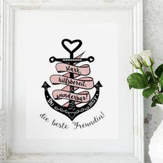Was würden wir nur ohne unsere beste Freundin machen? Den Print gibt es im DaWanda-Shop Ediths Art. #dawanda #edithsart #illustration #instaart #graphicdesign #pencilart #artwork #graphicart #illustrator #anchor #bestefreundin #bestfriend #spruchdestages #spruchbild #lettering #typo #calligraphy #kalligrafie