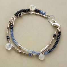 """MOONLIGHT BLUES BRACELET--A handmade moonstone and sapphire bracelet, in which moonstones shine out from a spectrum of blue sapphires mixed with sterling silver. A handcrafted exclusive with lobster clasp. Made in USA. 7-1/2""""L."""