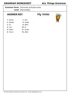 English Grammar Worksheet, Commonly Confused Words 1. http://www.allthingsgrammar.com/commonly-confused-words.html