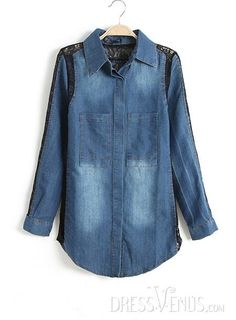 US$26.29 Beautiful Split Joint Lapel Long Sleeves Jeans Blouse. #Blouses #Split #Blouse #Beautiful