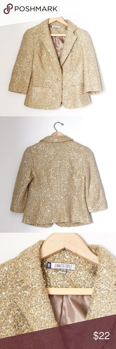 Jennifer Lopez knit gold sequin blazer Jennifer Lopez gold sequin knit blazer fully lined great condition Jennifer Lopez Jackets & Coats Blazers