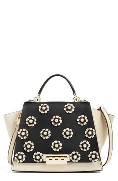 b9267e271f1b ZAC Zac Posen Eartha Embellished Leather Top Handle Satchel Expensive  Handbags
