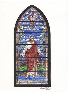 Painting by Clay Allison of the amazing window that once graced the Springville United Methodist Church which burned in 1981.