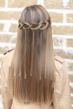 Loop Waterfall Braid by Cute Girls Hairstyles.  Such a cool pattern by just adding a few knots!