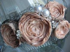 love the fabric flower haircomb