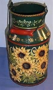 Sunflower Milk Can Folk Art Sunflower Kitchen, Sunflower Art, Sunflower Design, Painted Milk Cans, Milk Can Decor, Old Milk Cans, Milk Jugs, Vintage Milk Can, Art Populaire