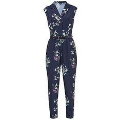 Ted Baker Ficia Entangled Enchantment Jumpsuit, Dark Blue ($235) ❤ liked on Polyvore featuring jumpsuits, cap sleeve jumpsuit, floral print jumpsuit, jump suit, blue jumpsuit and patterned jumpsuit