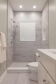 Tub was replaced with walk-in shower. Walk In Bathroom Showers, Small Bathroom With Shower, Master Bathroom Shower, Small Walk In Showers, Replace Tub With Shower, Gray And White Bathroom Ideas, Walk In Tub Shower, Bathroom Tile Designs, Bathroom Design Small