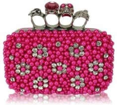 Skull Knuckle Rings Clutch With Crystal Decoration