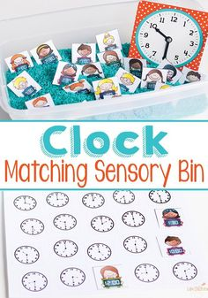 This free telling time matching sensory bin is great for learning time to the hour and half hour. Kids match clocks with digital and analog clock options. Math Activities For Kids, Math For Kids, Preschool Learning, Fun Math, Math Games, Fun Learning, Maths, Learning Spanish, Clock Games For Kids