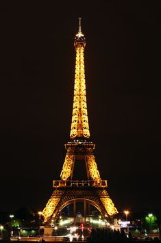 Eiffel Tower in Paris France at Night