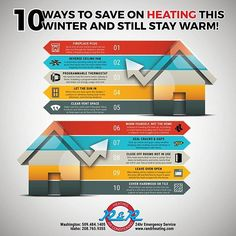 10 Ways To Save On Heating & Still Stay Warm. #infographic #infographics #heating #airconditioning #hvac #hvactips #energyuse #homeenergy #furnaces #heatpumps #heatingandairconditioning