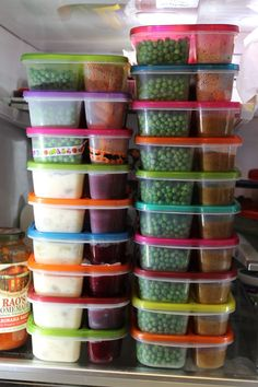 Freezer meals cooling down in the fridge.