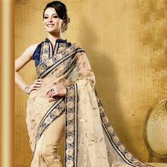 Beige #Partywear #Saree with Blouse