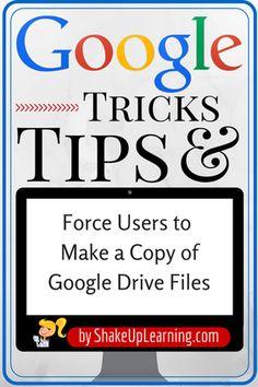 Force Users to Make a Copy of Google Drive Files | from www.ShakeUpLearning.com | #gafe #gafechat #googleEdu #edtech #elearning #googledrive