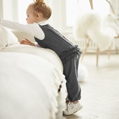 Ruffle Dungarees - Eclipse AW 2015 http://www.parentideal.co.uk/the-white-company---baby-girls-clothing.html
