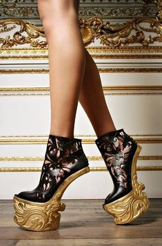 alexander mcqueen, baroque, fashion shoes, walks, crazy shoes, lady gaga, black gold, heels, dope fashion