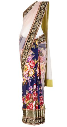 Sabyasachi Floral print sari with arjun border Indian Attire, Indian Wear, Indian Style, India Fashion, Asian Fashion, Indian Dresses, Indian Outfits, Lehenga, Sabyasachi