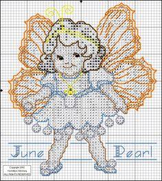Toddler Birthstone Fairy June Pearl Cross Stitch Pattern 2/5