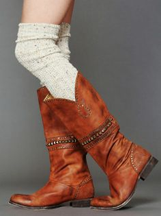 Over The Knee Socks + Studded Western Boots