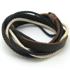 Leather and Rope Woven Bracelets Adjustable by jewelrybraceletcuff, $3.00